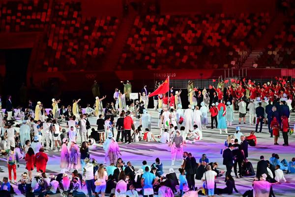 2020年东京奥运会开幕式举行中国体育代表团入场