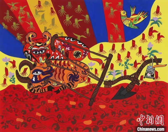 陕西省美术博物馆馆藏-----安塞农民画作品展在尼泊尔上线